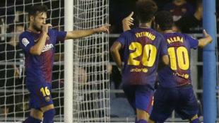 Arnaiz celebra un gol durante un encuentro.