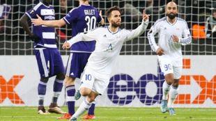 Dani Quintana en su debut en Europa League