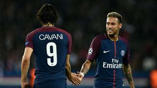 Neymar y Cavani, en un partido de esta temporada.