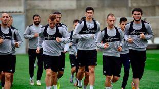 Los jugadores del Tottenham durante un entrenamiento