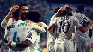 Los jugadores del Real Madrid y del Tottenham celebran los goles de...