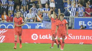 Oyarzabal celebrando su gol en Mendizorroza