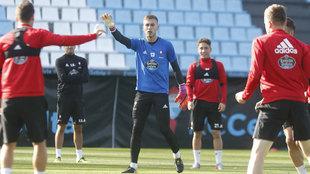Rubén Blanco, en el entrenamiento del Celta