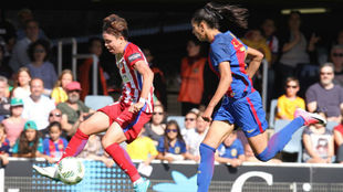 Amanda Sampedro y Leila Ouahabi durante un partido el pasado curso.