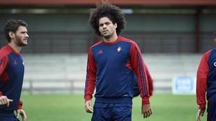 Aridane, durante un entrenamiento reciente en Tajonar