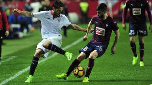 Fran Rico, en el partido ante el Sevilla