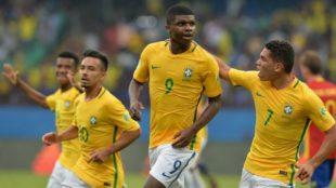 Lincoln celebra su gol a Espa�a en el Mundial sub-17.