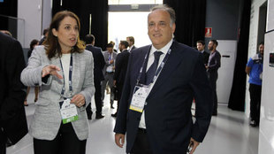 Javier Tebas, en el Madrid Football Summit