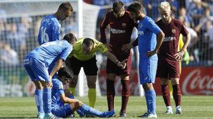 Lesión de Gaku en el partido entre el Getafe y el Barcelona.