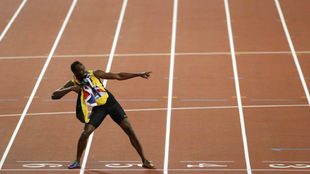 Usain Bolt durante los Mundiales de Atletismo de Londres.