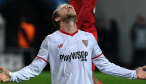 Krohn-Dehli lamentándose durante el partido ante el Spartak.