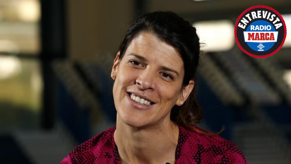 Ruth Beitia durante una entrevista para MARCA