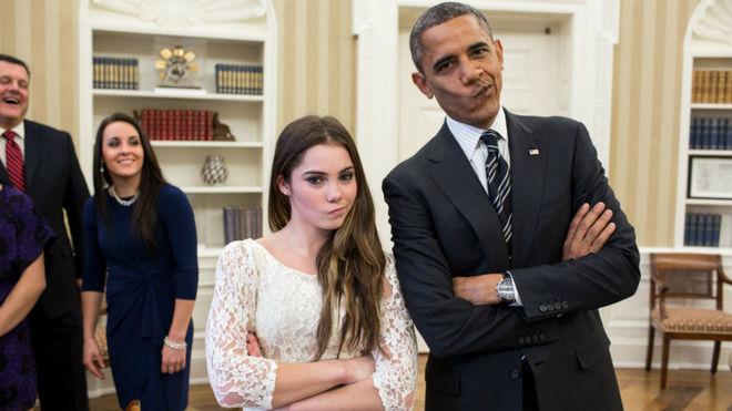 McKayla Maroney, con Barack Obama en una recepción en la Casa Blanca...