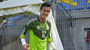 Raúl Gudiño, en una concentración de la selección mexicana.