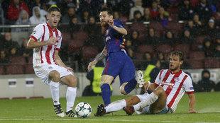 Leo Messi durante el partido ante Olympiacos.