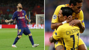 Festejo de Messi y Neymar con Di María