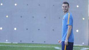 Thomas Vermaelen, en un entrenamiento en la Ciudad Deportiva Joan...