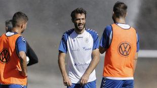 Aitor Sanz, durante el entrenamiento de ayer.