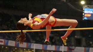 Ruth Beitia, en el Europeo de atletismo de Belgrado.