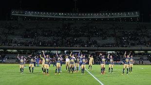 Grito de Goya al finalizar el partido ante León.