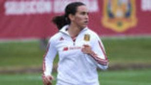 Eunate Arraiza durante su primer entrenamiento con la selección...