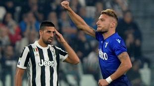 Immobile (27) festeja tras marcar en el partido entre la Juventus y la...