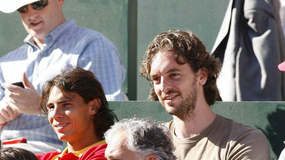 Nadal y Pau Gasol viendo un partido