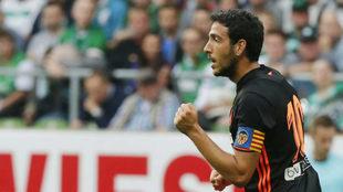 Dani Parejo celebra un gol marcado en pretemporada.