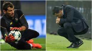 Casillas atrapa el balón y Sergio Conceição se lamenta.