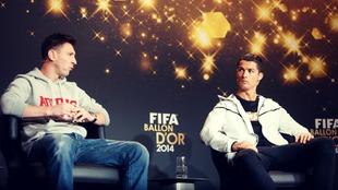 Messi y Cristiano Ronaldo durante la rueda de prensa del FIFA-Balón...