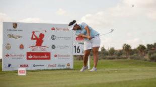 Natalia Escuriola, durante la segunda jornada del Santander Golf Tour...