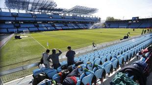 Zona donde se ubica la prensa en el Celta-Atlético.
