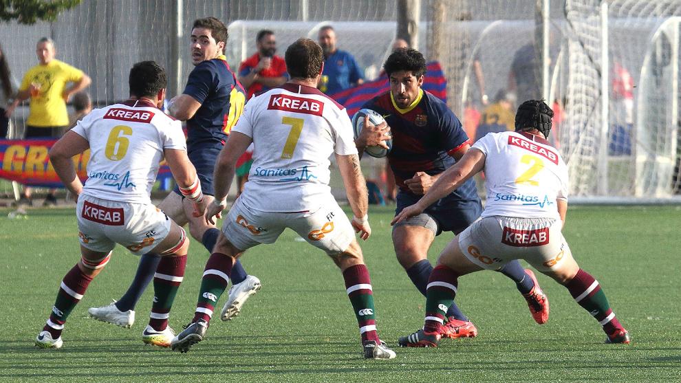 Imagen del partido del sábado entre  F.C. Barcelona y Sanitas...