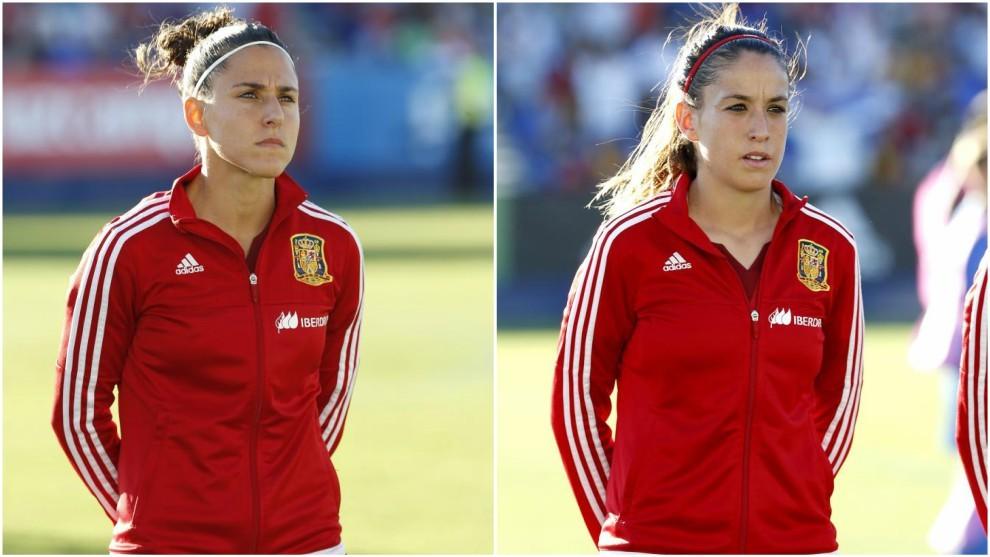 Vero Boquete y Olga García durante un partido con la selección...