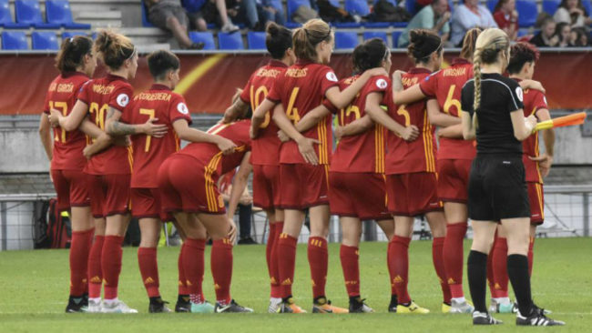 La selección española durante el partido ante Austria en la...