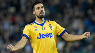 Khedira celebra uno de sus goles ante el Udinese