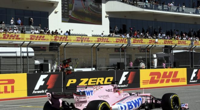 Checo, a los mandos de su Force india en Austin