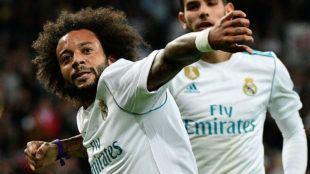 Marcelo celebra su gol ante el Eibar