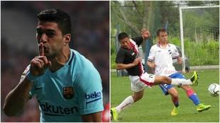 Luis Suarez (30) festeja un gol y Matía Dutour (22) disputa el balón...