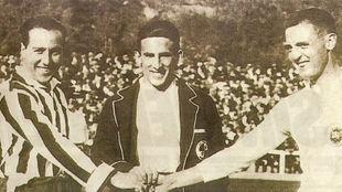 Pololo y Santiago Bernabéu, en un derbi madrileño de inicios de los...