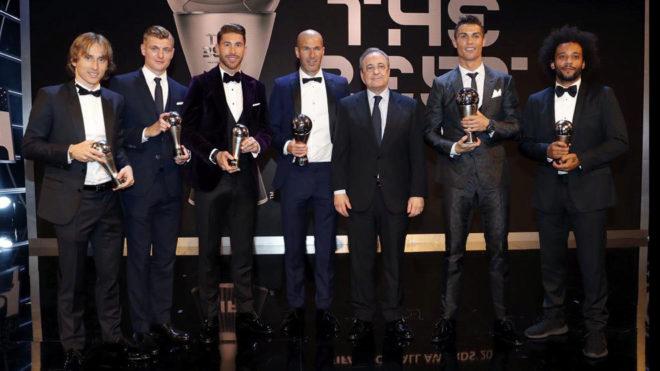 Los representantes del Madrid en la gala The Best.