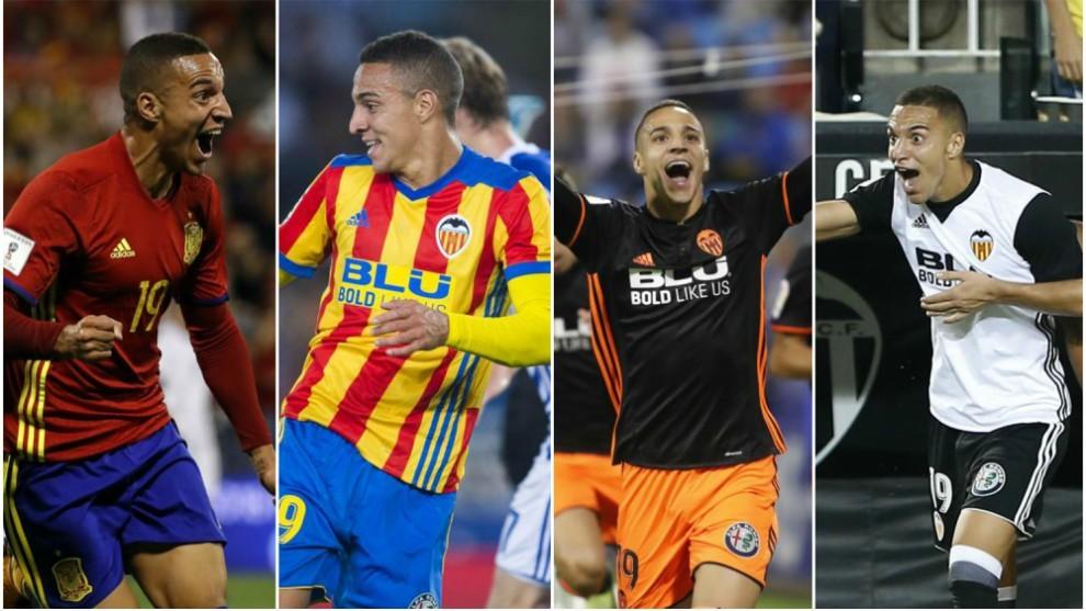 Imágenes de celebraciones de goles de Rodrigo esta temporada.