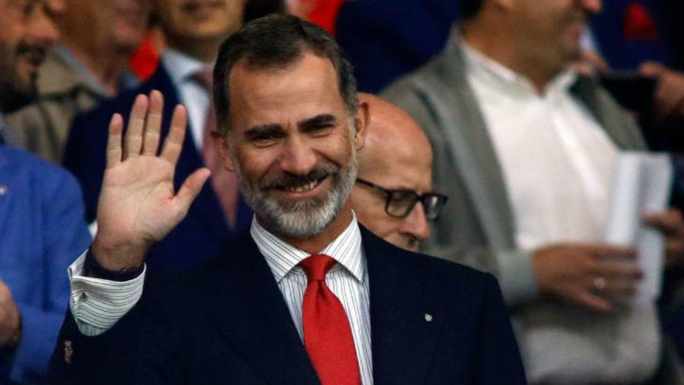 Felipe VI, durante el partido inaugural del estadio Wanda...