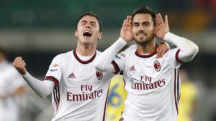 Suso celebra su gol al Chievo.