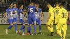Los jugadores de la Ponferradina celebran el gol
