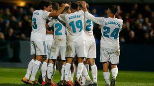 Celebración de uno de los goles del Madrid en Fuenlabrada