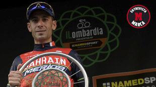 Vicenzo Nibali, en el podio del Tour de Lombard�a