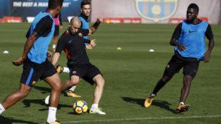 Javier Mascherano (33), en el entrenamiento del pasado jueves en la...