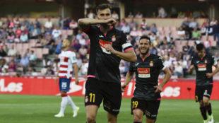 Baptistao celebra un gol con el Espanyol