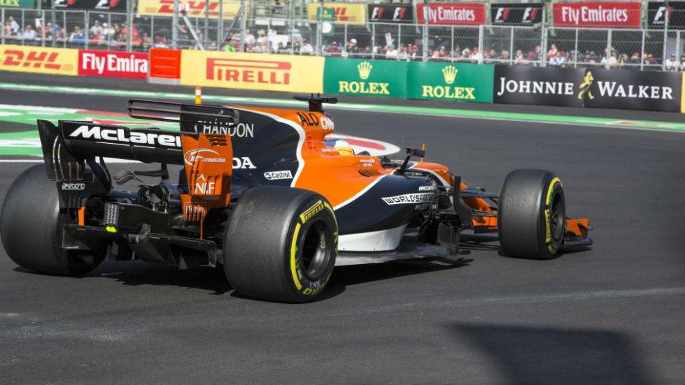 Fernando Alonso, en los entrenamientos libres en México
